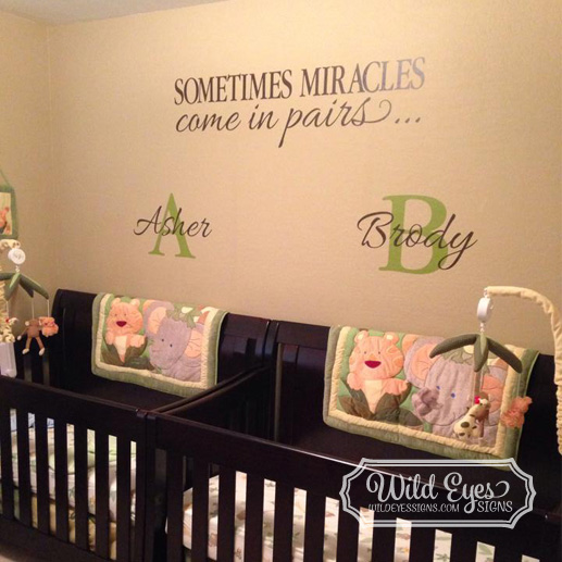 Sometimes Miracles Come in Pairs 12 Inch High Monograms and verse Vinyl Wall Decal