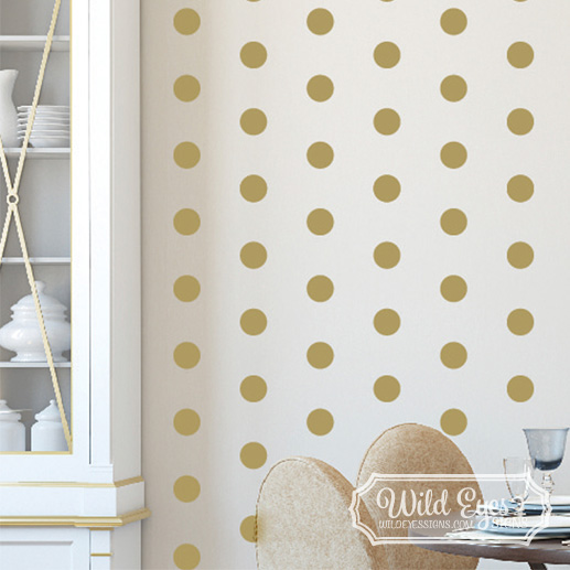 polka dot circles vinyl wall decal nursery toddler room geometric wall pattern gold diy confetti. Black Bedroom Furniture Sets. Home Design Ideas