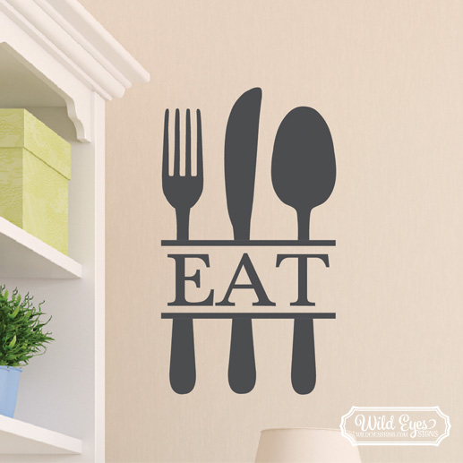 Eat Kitchen Decor Wall Decal : Eat silverware vinyl wall decal kitchen dining