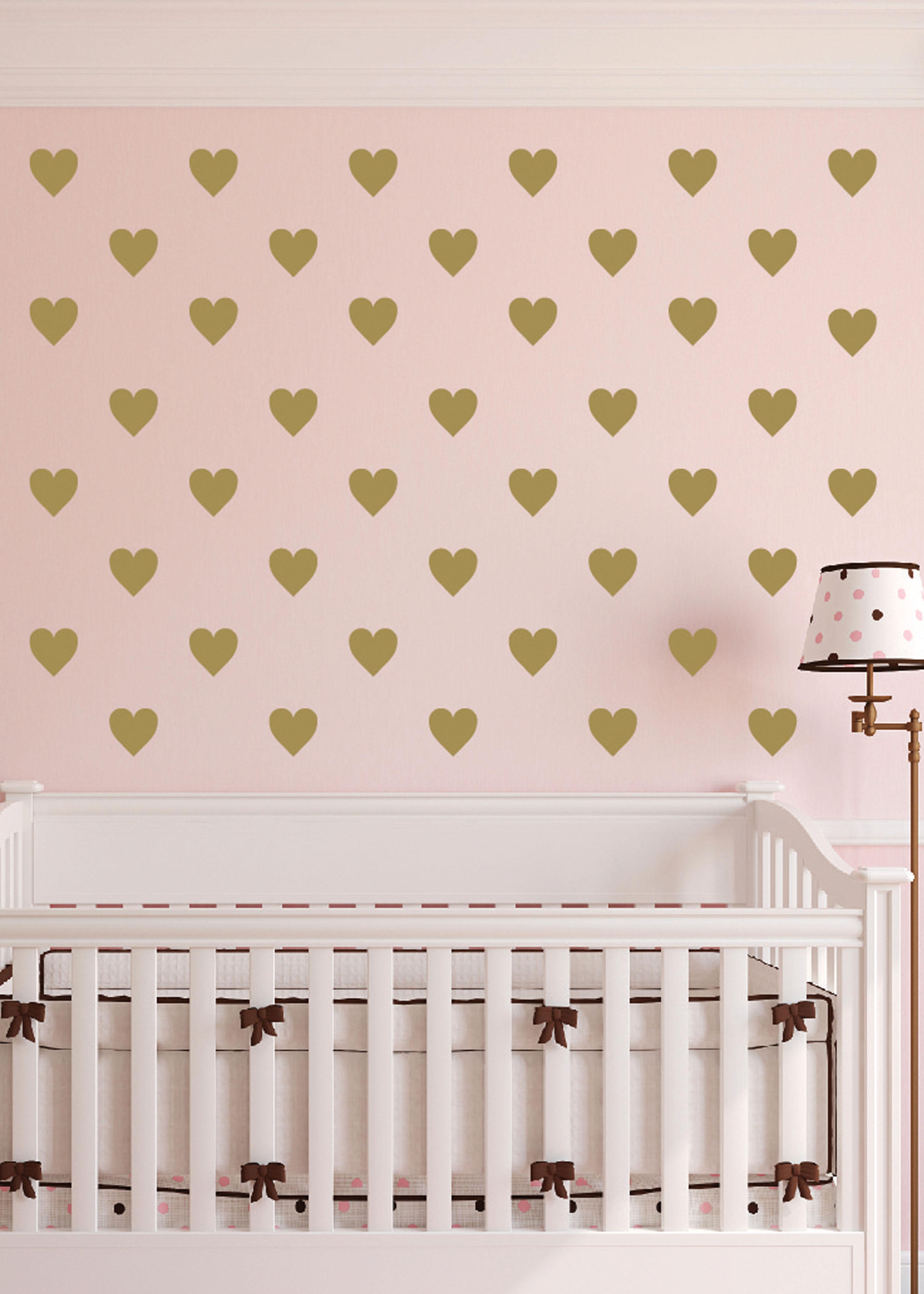 Polka dot hearts vinyl wall decal nursery toddler room geometric polka dot hearts vinyl wall decal nursery toddler room geometric wall pattern gold diy confetti poka dots amipublicfo Images