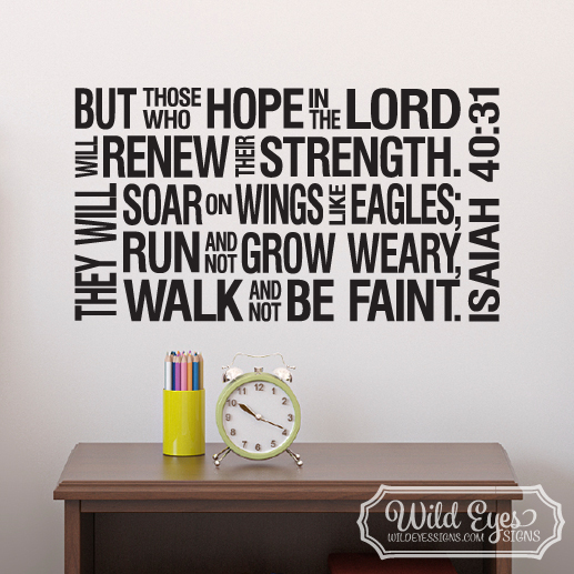 Isaiah 40:31 Christian Subway Art Vinyl Wall Decal 2
