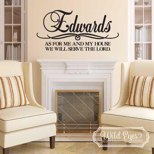 Vinyl Wall Decal-Personalized Family As for me and my house Family Name