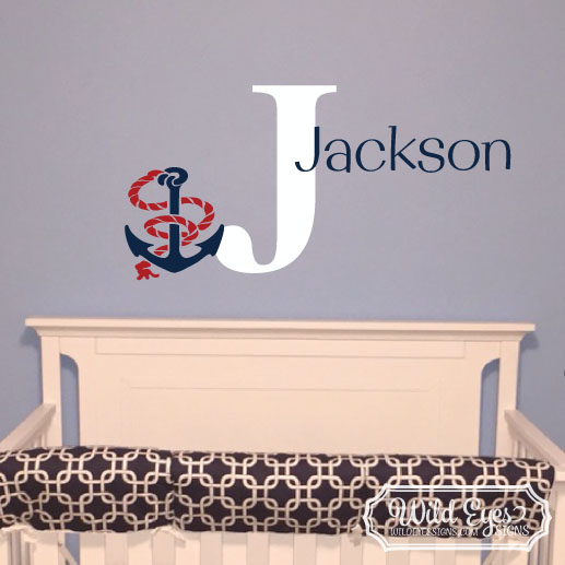 Anchor Nautical Sailor Ocean Ship Boat Monogram Vinyl Wall Decal