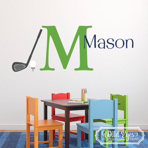Golf Ball Tee Club Driver Personalized Monogram Vinyl Wall Decal version 2