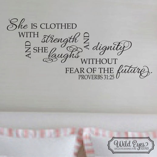 Proverbs 31:25 Vinyl Wall Decal version 2