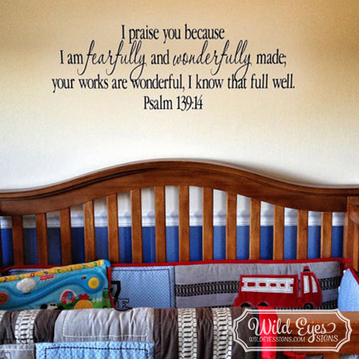 Psalm 139v14 Vinyl Wall Decal 1