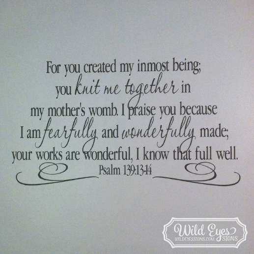 I praise you because I am fearfully and wonderfully made, Bible Scripture Verse, Teen Youth, Nursery Decor, PS139V14-0002