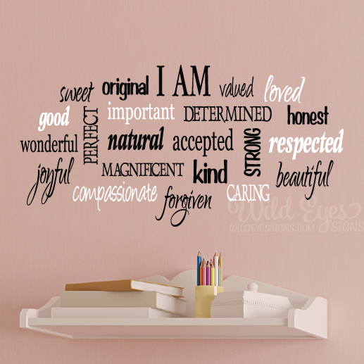 I Am U2013 Positive Word Collage For Girls Teen Girl Vinyl Design Wall Decor U2013  Girls Room Wall Decal U2013 CT4554