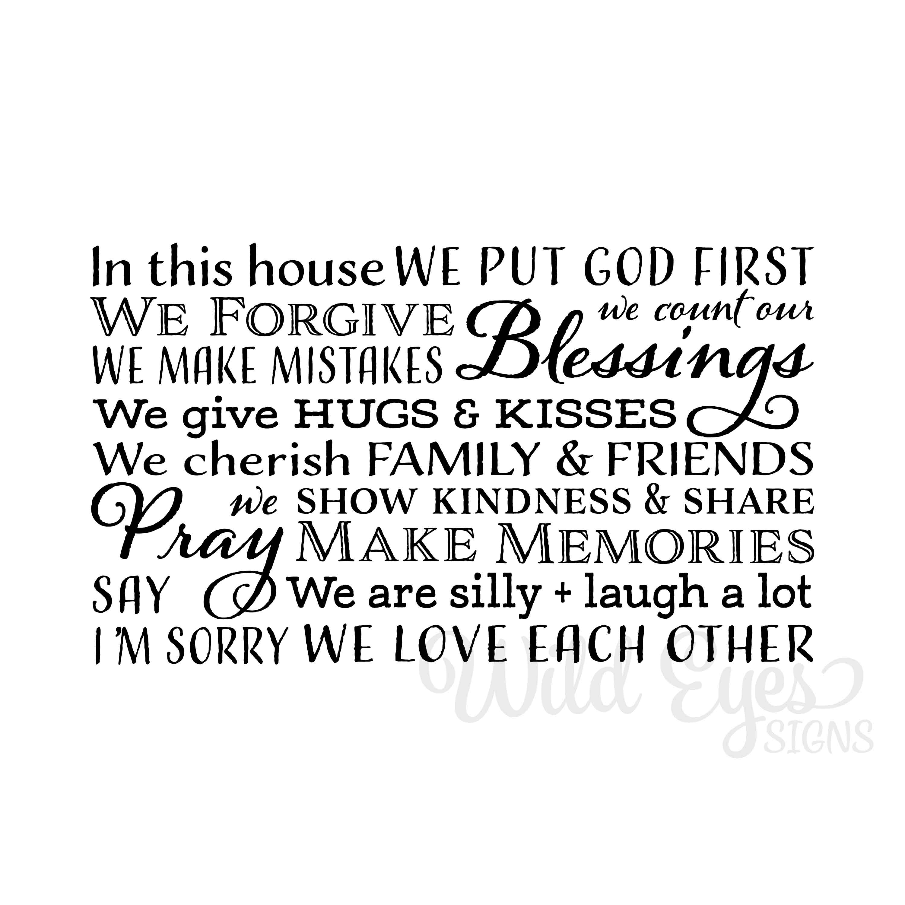 In This House We Put God First Vinyl Wall Decal Family