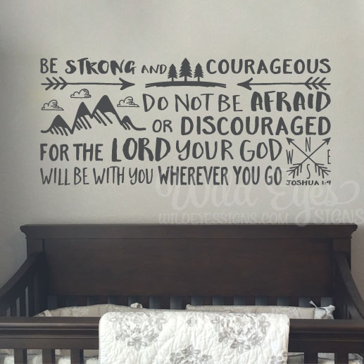 joshua 1v9 vinyl wall decal 15 be strong and courageous do not be