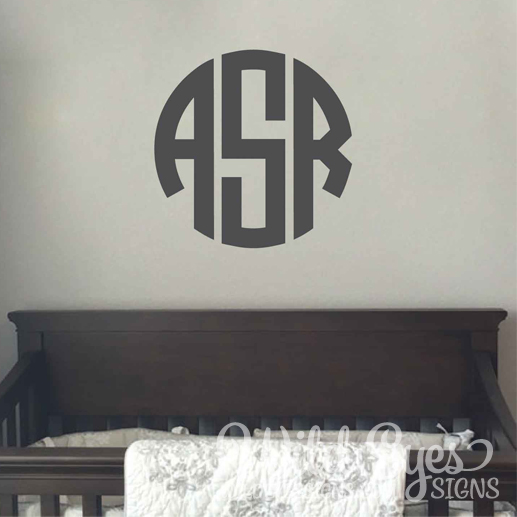 Circle Monogram Vinyl Wall Decal Monogram Initials Nursery Decal - Monogram vinyl wall decals for boys