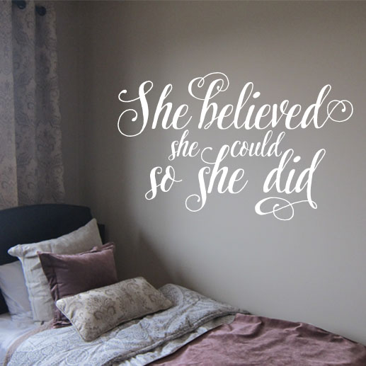 she believed she could so she did vinyl wall decal, teen girl