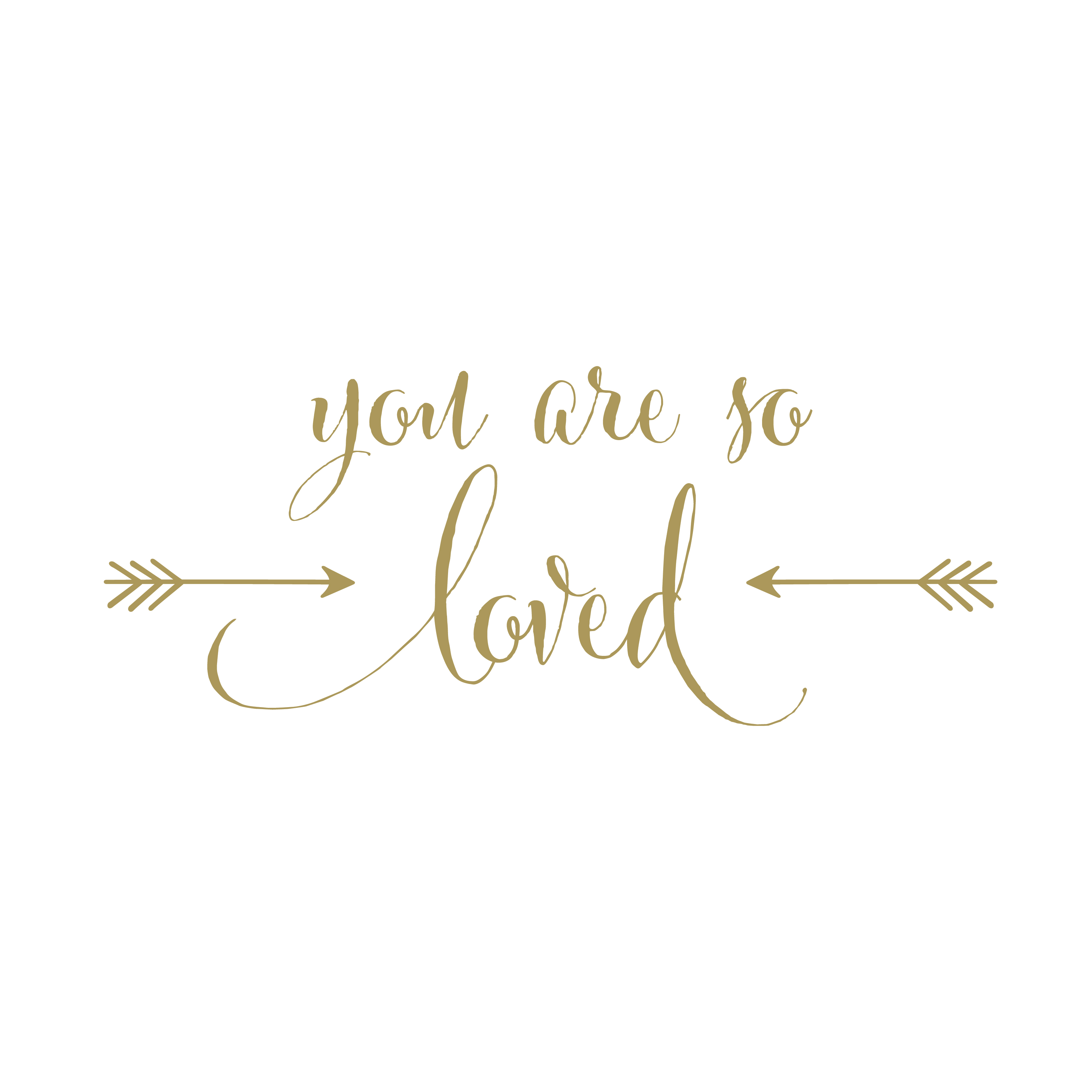 Wall Quote Sticker You Are So Loved Vinyl Wall Decal Version 2 Arrows Gold