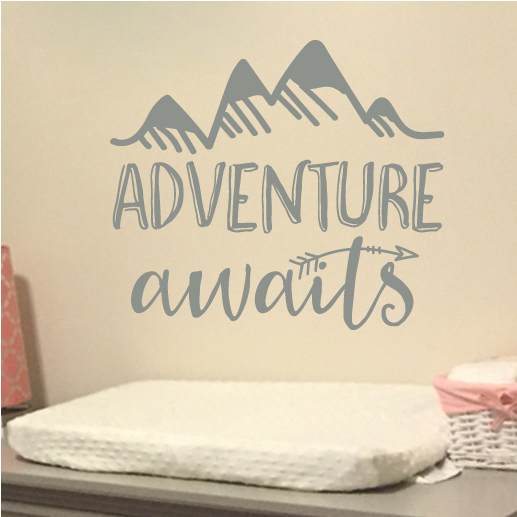 adventure awaits vinyl wall decal, art, nursery quote, lettering