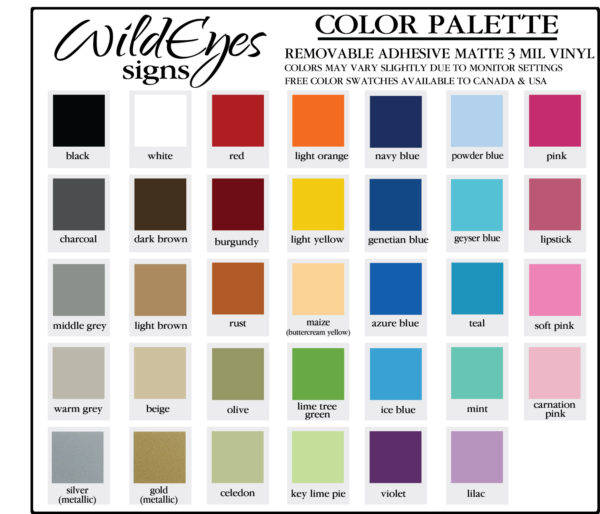 Color Palette for Vinyl Wall Decals from Wild Eyes Signs