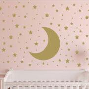 Moon, Stars, Sky, Stars, Polka Dots Vinyl Wall Decal