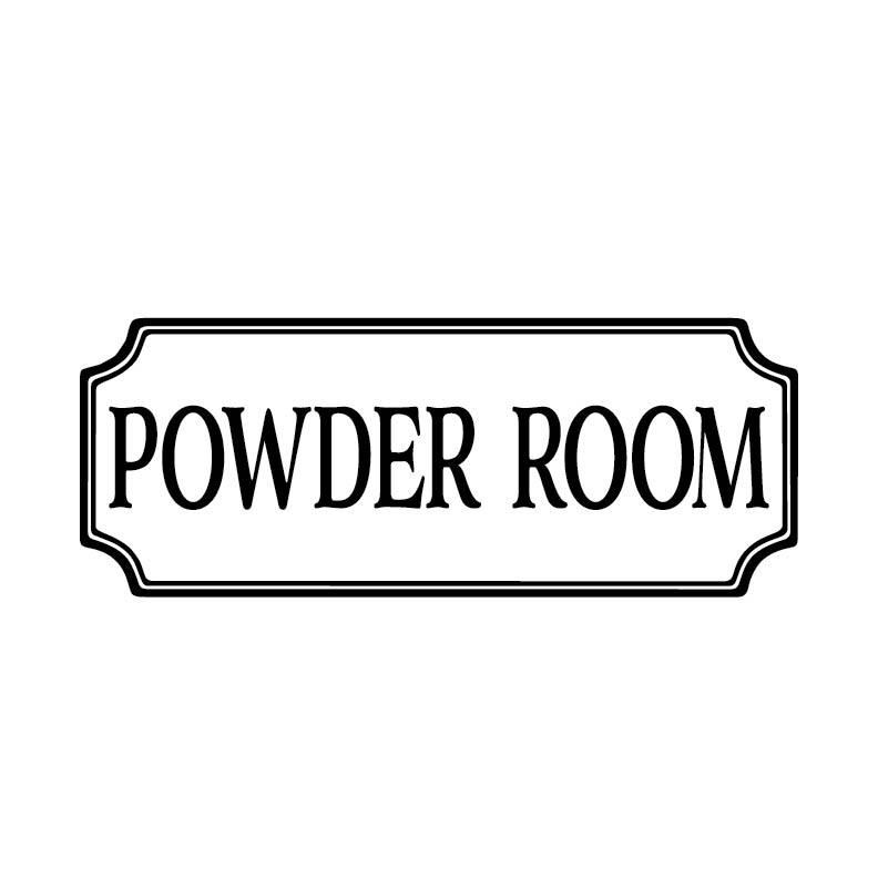 Powder Room Vinyl Decal by Wild Eyes Signs, Bathroom Vinyl Decal, Glass  Door Decal, Vinyl Lettering, Rectangle Border Frame sign, Wall sticker  HH2137