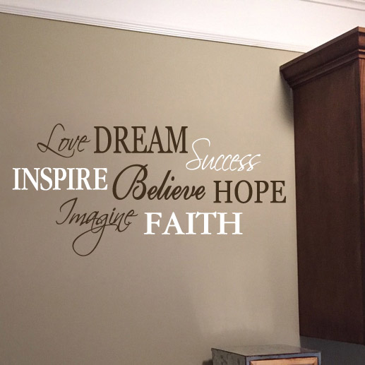 Love Dream Success Word Collage Vinyl Wall Decal