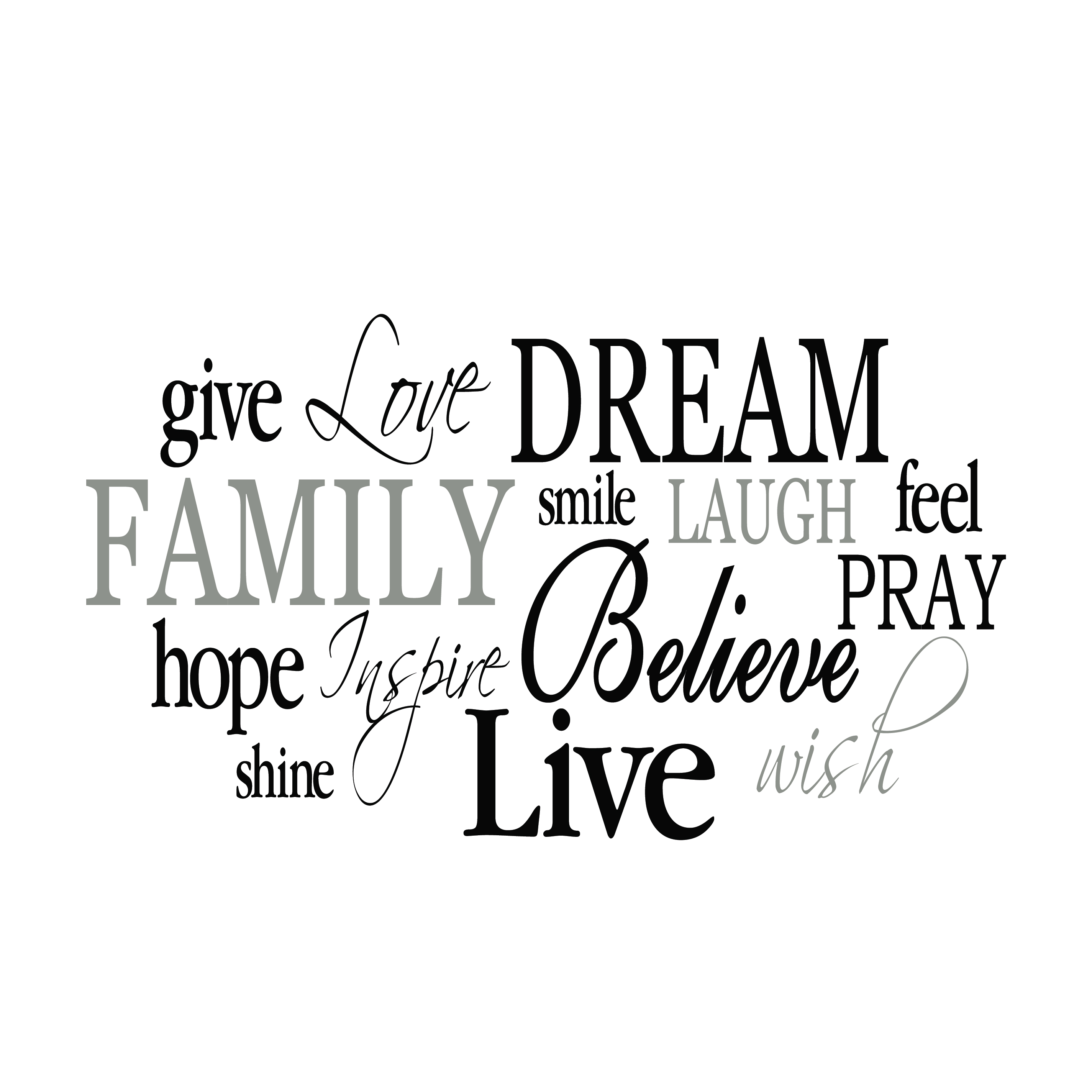 family word collage vinyl wall decal 2  living room  entry