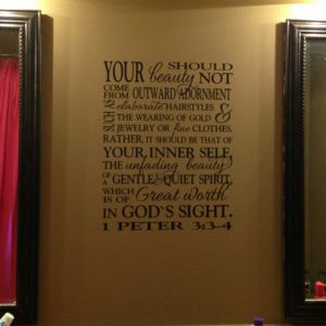1 Peter 3:3-4 Vinyl Wall Decal 2