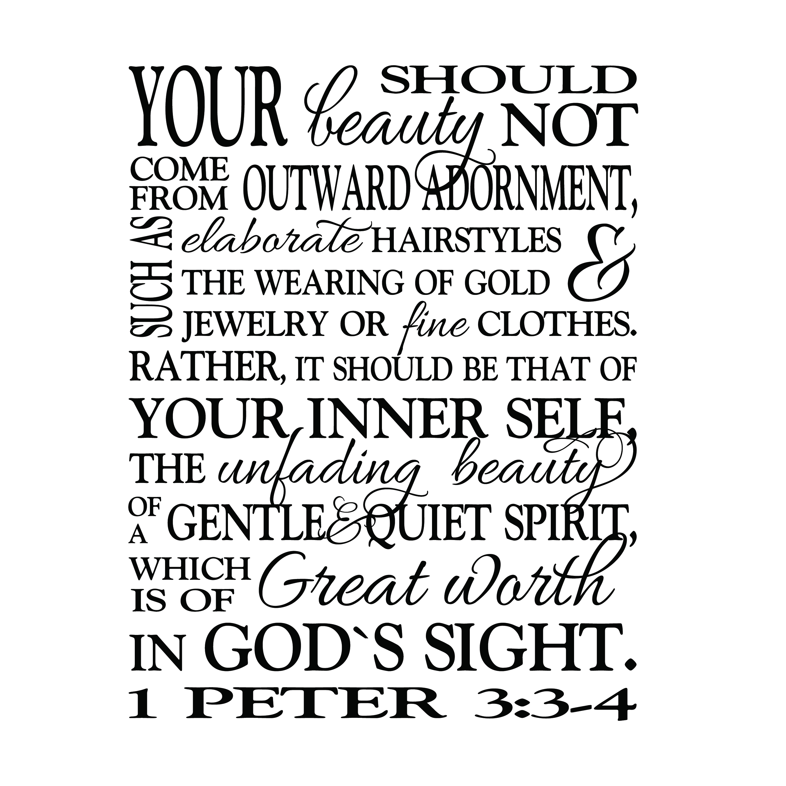 1 Peter 33 4 Vinyl Wall Decal 2 Great Worth In Gods Sight Teen