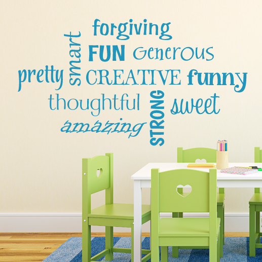 word collage—strong sweet pretty creative vinyl wall decal, wordle