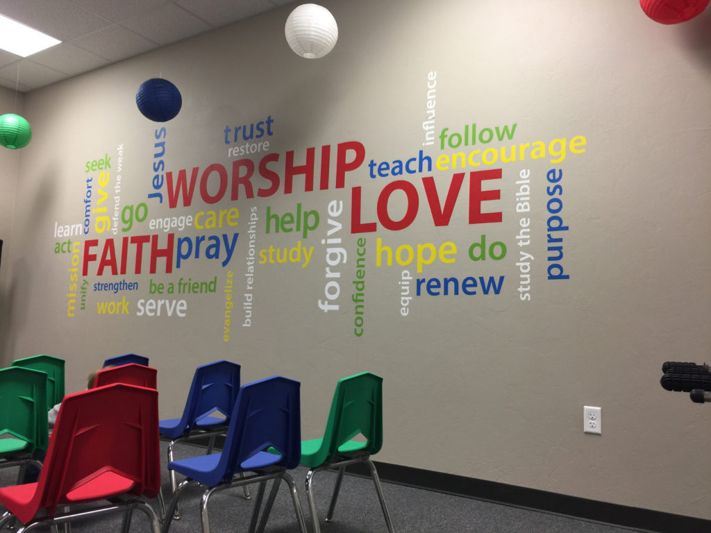 Classroom Worship Ideas ~ Faith worship love word collage vinyl wall decal youth