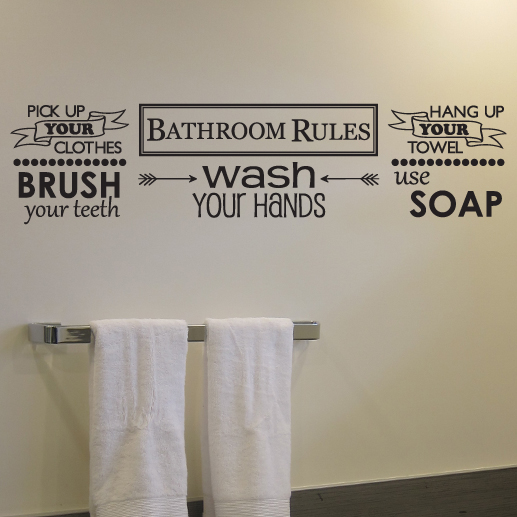 Bathroom Rules Vinyl Wall Decal Pick Up Your Clothes