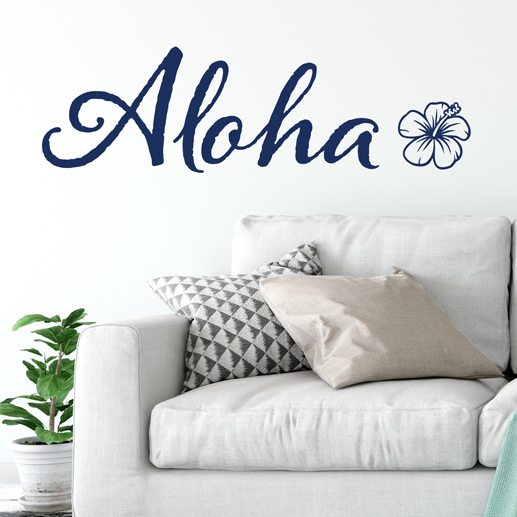 aloha hibiscus flower hawaiian theme vinyl wall decal, tropical