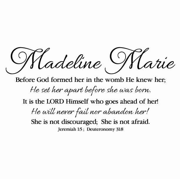 Custom Madeline Marie Jeremiah 15 Deuteronomy 318