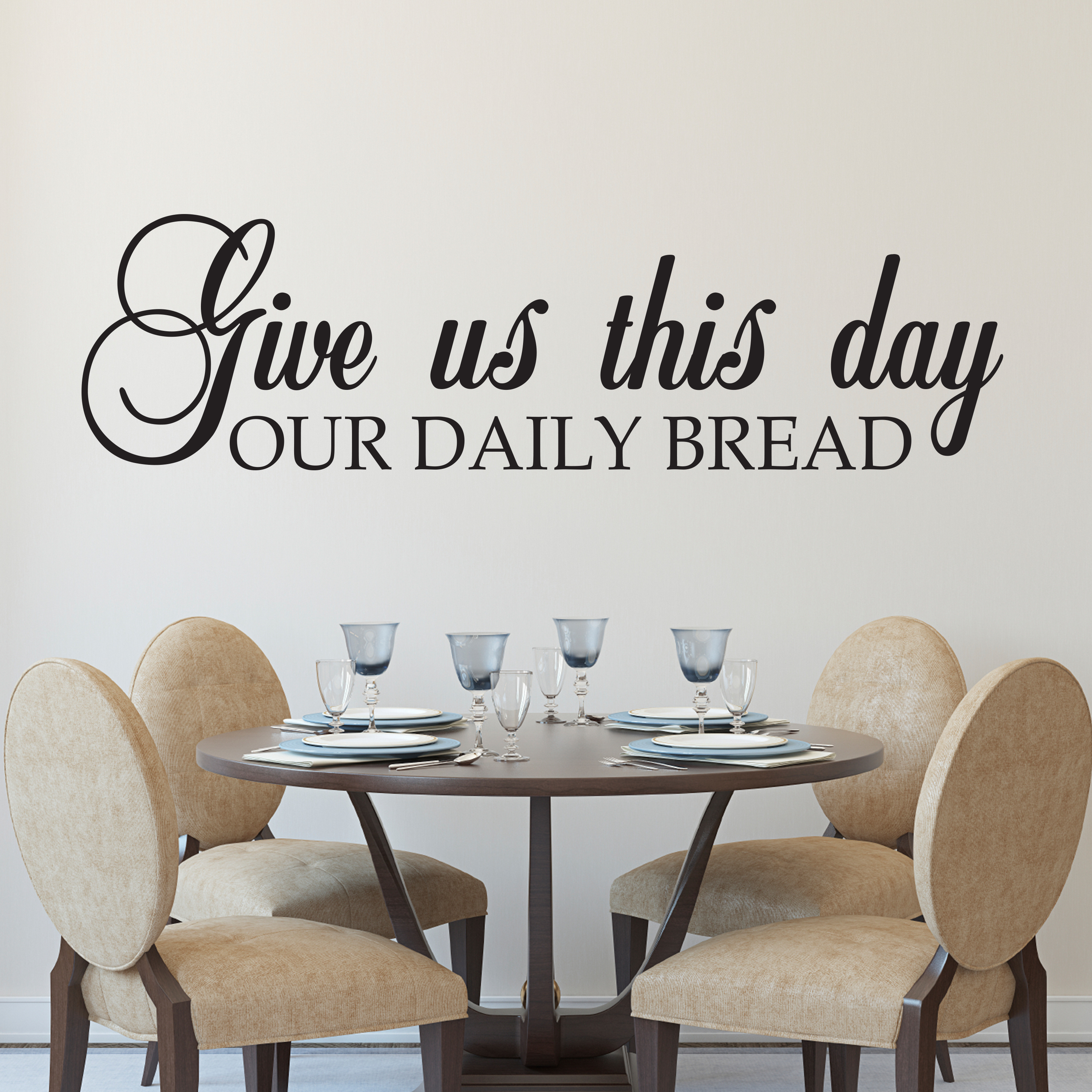 Kitchen Blessing Wall Decor: Give Us This Day Our Daily Bread Vinyl Wall Decal, Kitchen