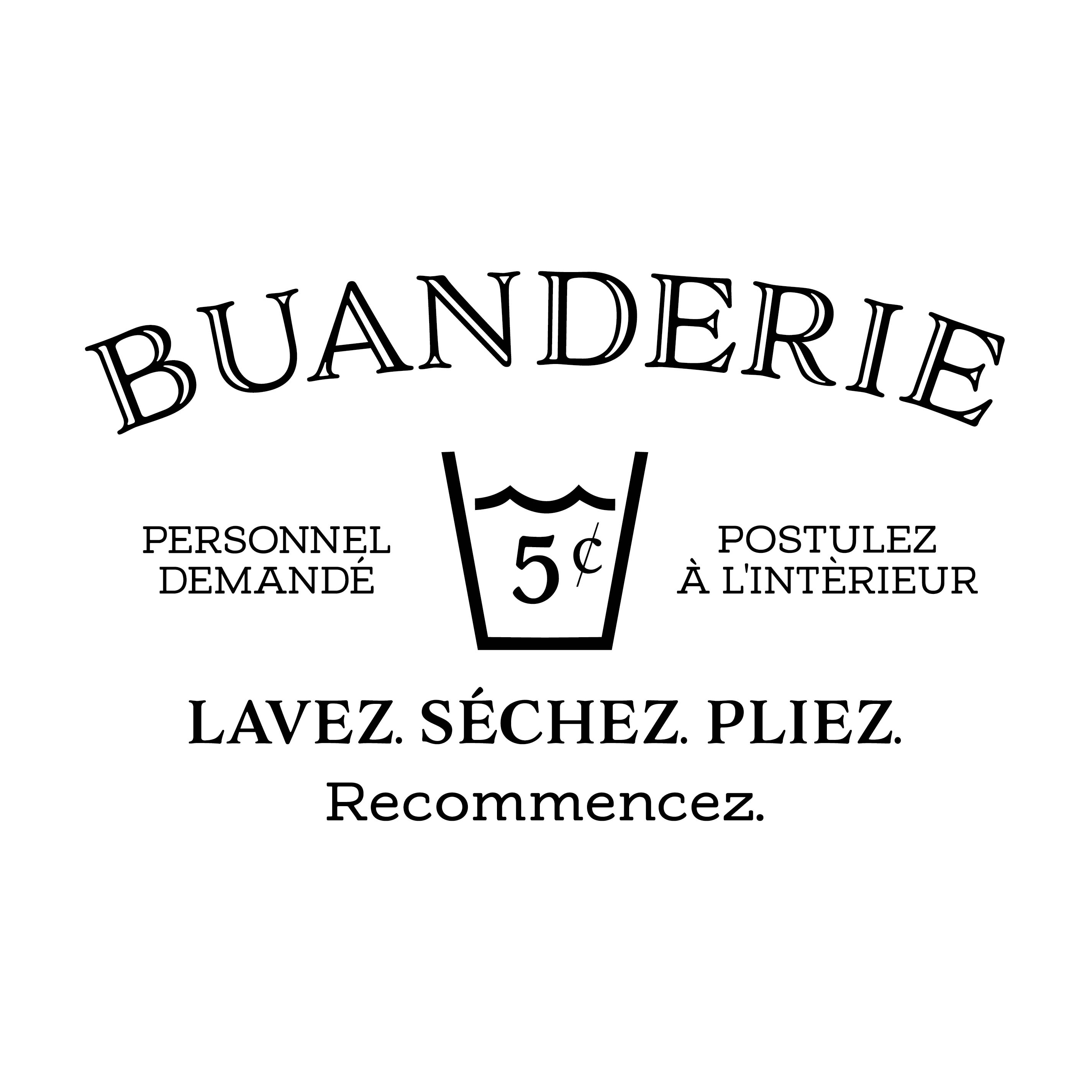 Utility Room Sign Buanderie French Laundry Vinyl Wall Decal Door Sign Sticker
