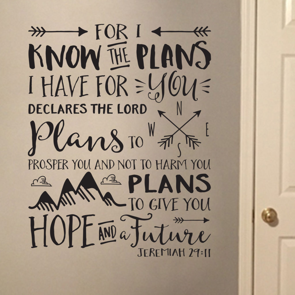 Jeremiah 29v11 Vinyl Wall Decal 2 For I Know The Plans I