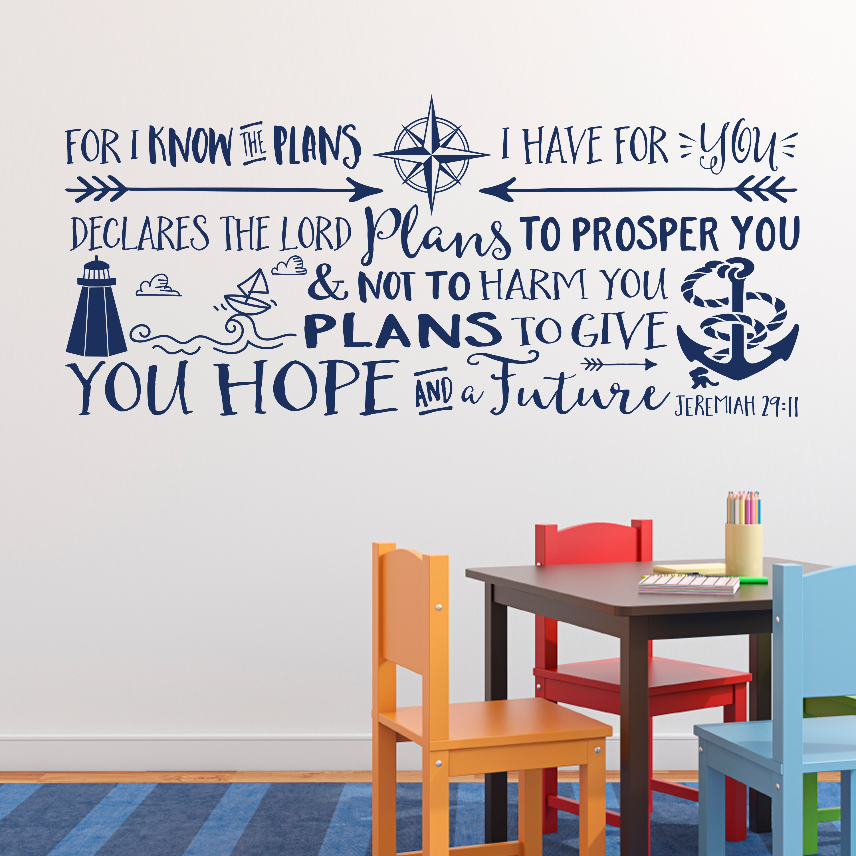 Explorer nursery archives jeremiah 2911 vinyl wall decal 5 by wild eyes signs for i know the plans i have for you explorer nursery arrows lighthouse anchor nautical amipublicfo Image collections