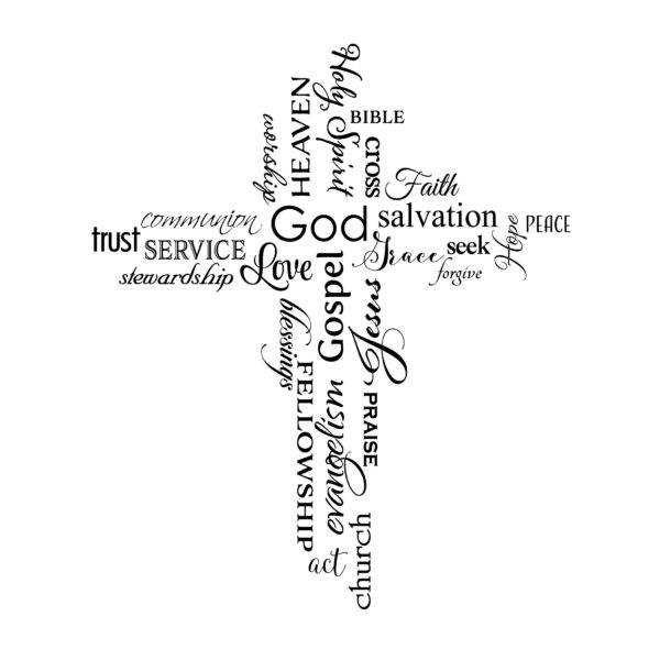 Cross Word Collage Christian Words