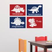 Dinosaur Blocks with Names Set 4 Vinyl Wall Decal