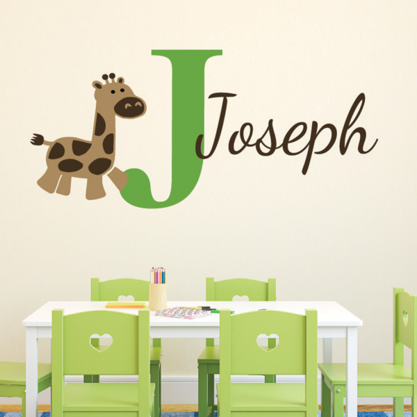 Giraffe Monogram Vinyl Wall Decal,