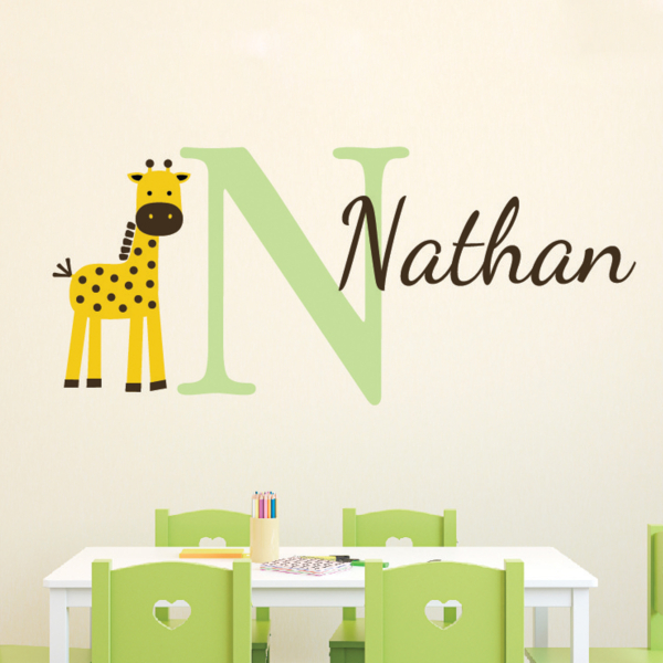 Giraffe Personalized Monogram Vinyl Wall Decal