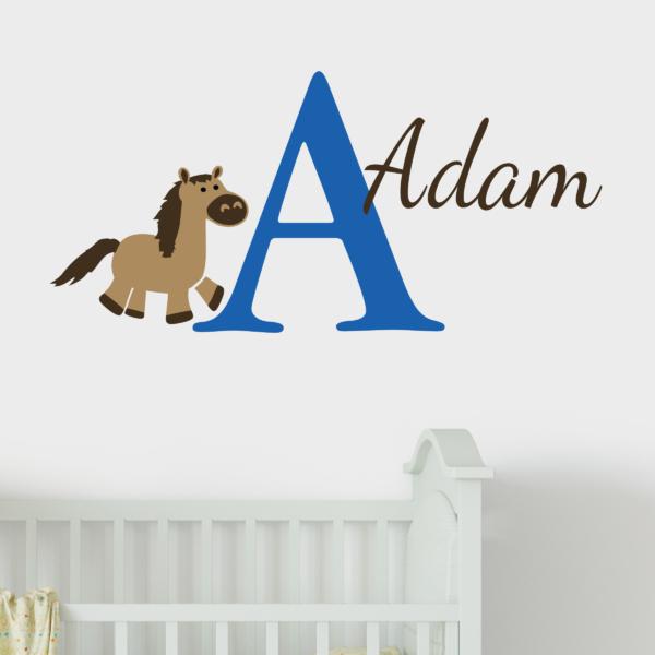 Equestrian Horse Monogram Vinyl Wall Decal